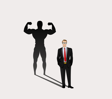 whose: Businessman whose shadow looks like a bodybuilder. A metaphorical image of professional, strong leader. Vector Illustration