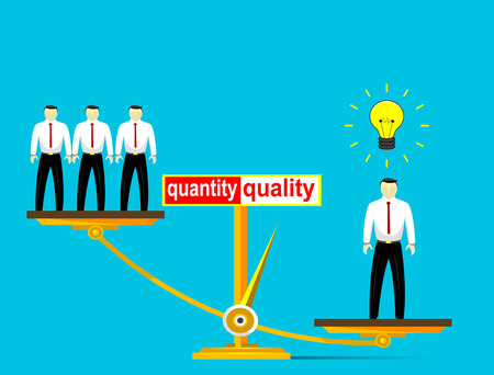according: Illustration of employment policy, according to which preference is not Number of employees but their quality. Vector illustration