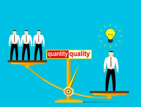 preferencia: Ilustraci�n de la pol�tica de empleo, seg�n el cual la preferencia no es N�mero de empleados, sino su calidad. Ilustraci�n vectorial Vectores