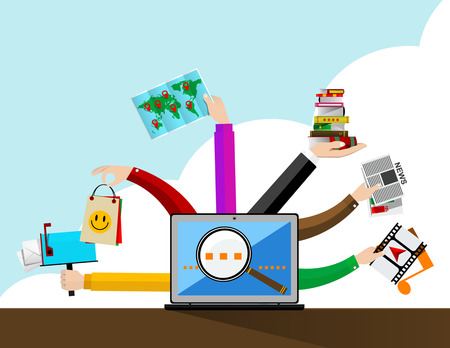 Vector  concept of Internet browser in flat style - digital content and online webinar icons