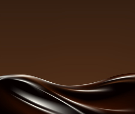 木の葉の背景に暗い液体チョコレート波  イラスト・ベクター素材