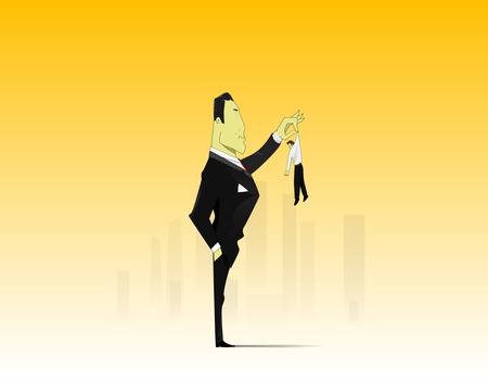 Little and Big. Conceptual image - business confrontation metaphor. Vector Ilustracja