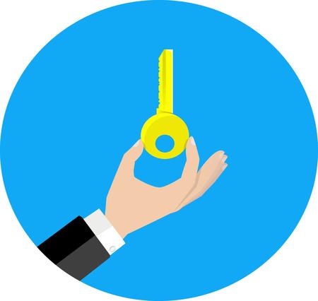 hand key: hand hold key vector icon Illustration