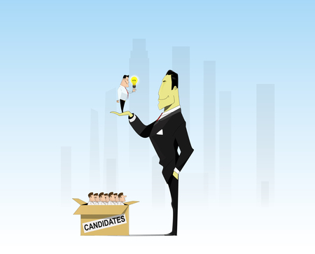 competitor: The employer chooses the most talented and active competitor. Vector
