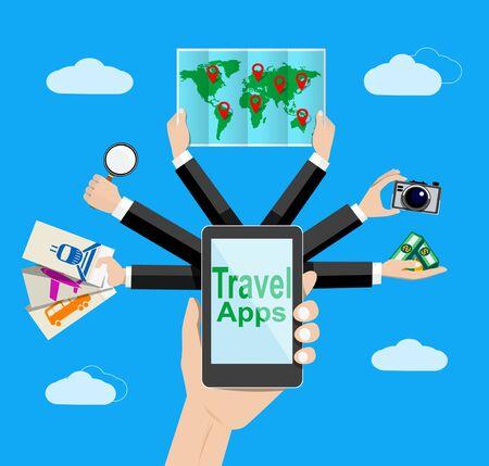web application: Navigazione e applicazioni che viaggiano illustrazione. . Applicazione Web.