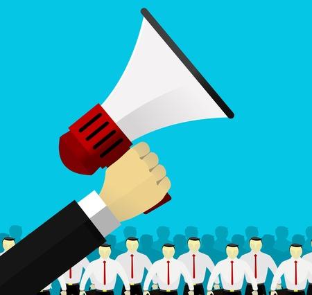 hiring: Hand holding megaphone .Hiring template