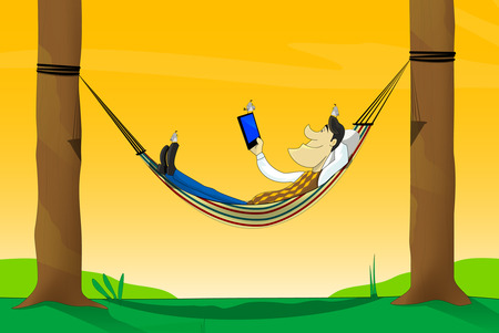A vector illustration of man, using tablet while lying in hammock. He can watch movie, chating, use Internet, control his business or just read something.