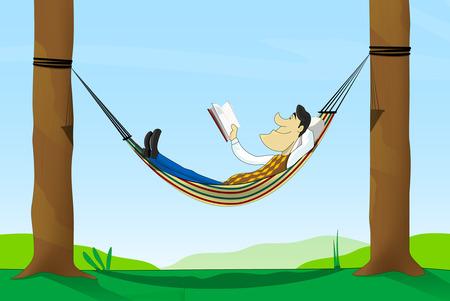 lying in: Cartoon man read a book while lying in a hammock