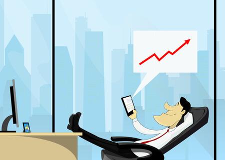 ビジネスマンは、独自のビジネスを制御するのに彼の電話にオンライン サービスを使用します。