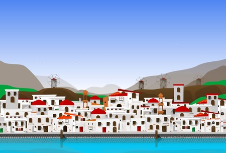 white-blue cartoon city - view of caldera with domes. Vector