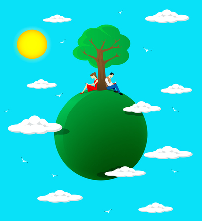 under a tree: Concept of reading. Boy and gir read books,sitting under th tree. Vector