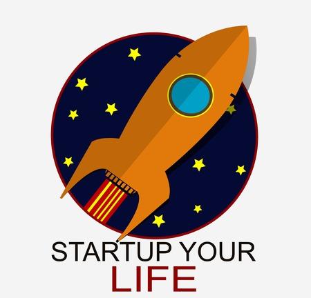 Space rocket flying in star sky. Concept illustration
