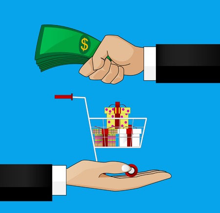giving money: vector illustration in retro style, hand giving money to other hand