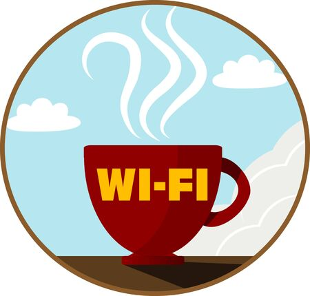 cybercafe: Free Wi-Fi zone icon. Vector Illustration