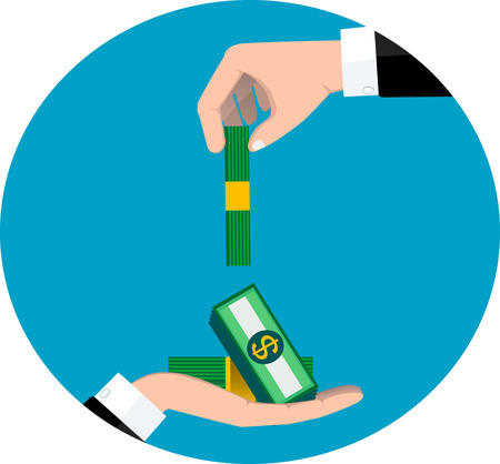 bribe: Businessman giving a bribe. Corruption concept. flat design. vector illustration