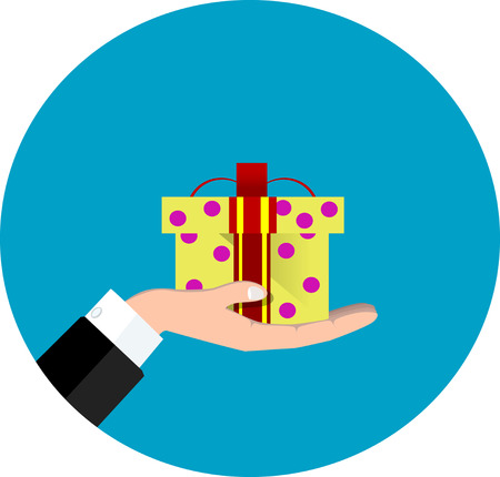 Vector hand giving present in flat style - gift concept illustration Illustration