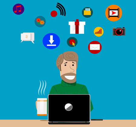 delegation: Simple cartoon of a man using online facilities of internet at home Illustration