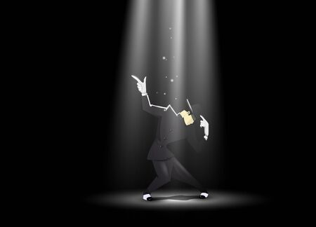 Dancing man on the dark scene. Vector illustration Illustration