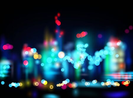 lights background: Night city with blured lights. Background. Vector