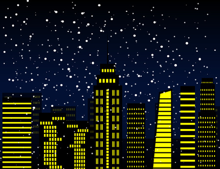 winter night: Winter night in the city, Vector