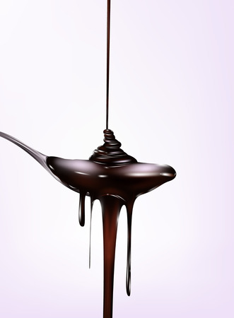 Chocolate falling from tne spoon. Vector