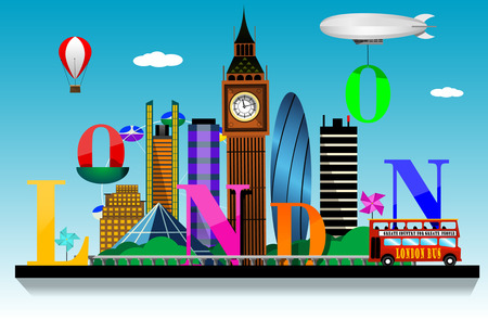 ロンドン市内のスカイラインのベクトルの背景。フラット トレンディなイラスト。