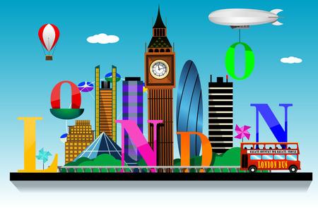 London  city skyline vector background. Flat trendy illustration.