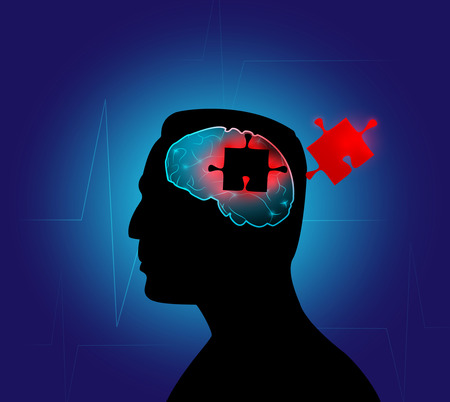 mental illness: Conceptual image of diseases associated with age-related changes and mental illness. Vector