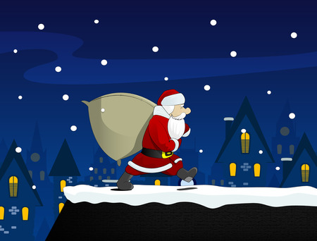 house of santa clause: Christmas background. Santa Claus with a bag of Christmas gifts.