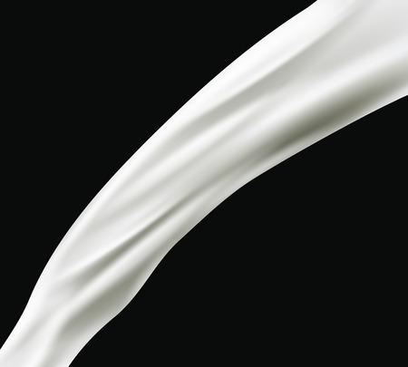 leche: leche salpicaduras aisladas sobre fondo negro. Vector