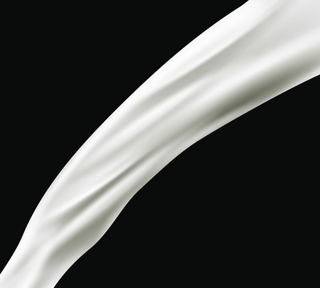 splashing milk isolated on black background. Vector Vettoriali