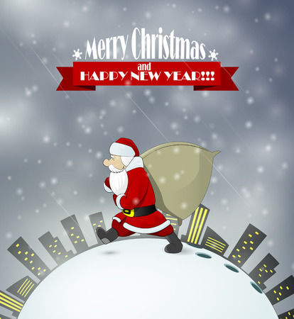 house of santa clause: Santa Claus came at night to town deliver gifts.Vector illustration.