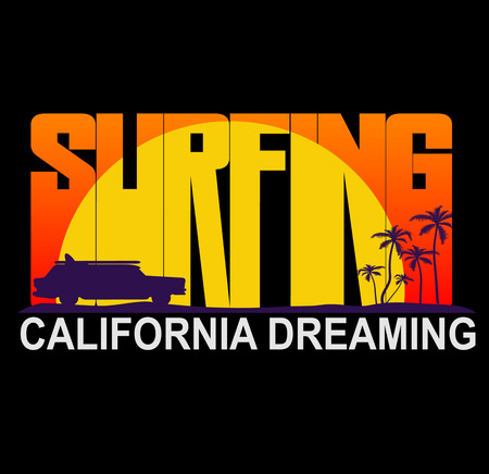 malibu: Vector retro style weathered Surfriders t-shirt graphics design featuring surf woodie car. Vector