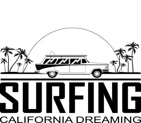 Retro Happy Hippie Vintage Tropical Surfboard  Car Vector Illustration Ilustrace