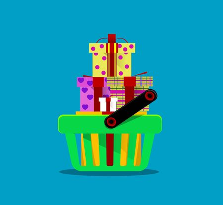 purchases: shopping cart with purchases. Vector  Illustration