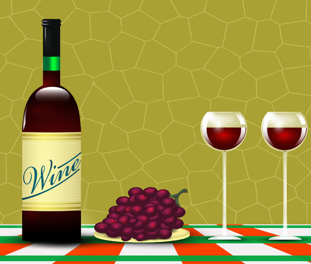 branded product: Wine and bunch of grapes. Vector
