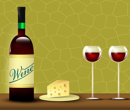 branded product: Wine and cheese. Vector