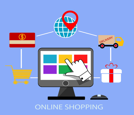 Online shopping infographic. Vector