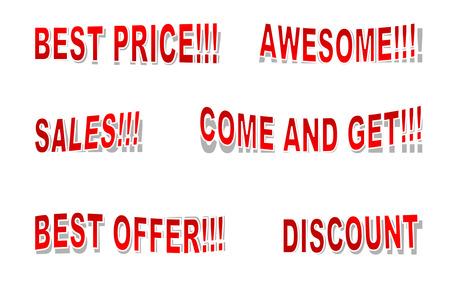 Sales inscriptions. Vector