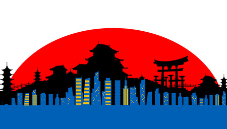 Japan conceptual background. Vector   Illustration