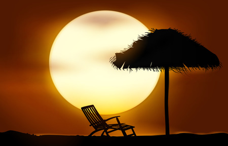 Sunset beach. Vector