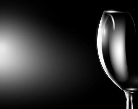Glass of wine on dark. Vector   Illustration