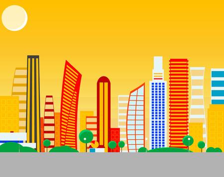 colorful tree: Sun cartoon city. Vector