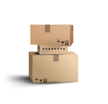 cajas de carton: Las cajas. Vector Vectores
