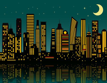 Cartoon night city. Vector   Illustration