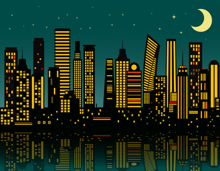 Cartoon night city. Vector   Illustration