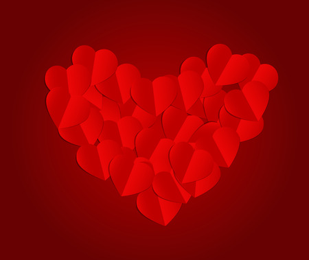 Paper hearts background. Vector