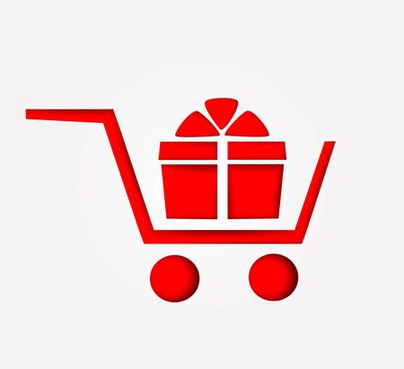 Paper shopping trolley. Vector