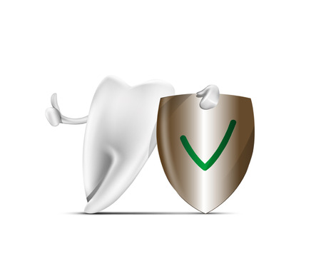 carious: Tooth with protactive shield. vector