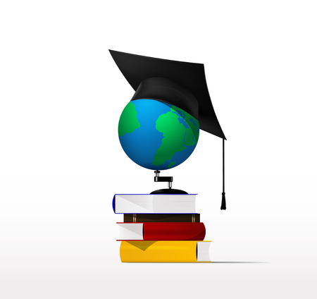 literate: Globe standing on a pile of books. vector